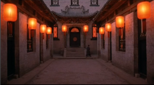 Lanterns in the compound are lit.